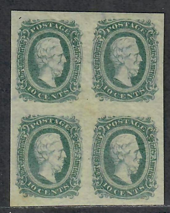 $CSA Sc#11c M/LH/XF greenish blue, block of 4 OG, 2 NH, Cv. $120