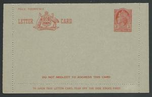 AUSTRALIA QE 3½d lettercard fine unused....................................12470