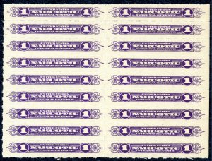 US RJA42 - Narcotic Revenue Stamps 1c Block of 18.  Mint.