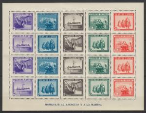 ESPAÑA 1938, ED. 849** MNH, HOJA EN HONOR DEL EJÉRCITO Y LA MARINA, LUJO.