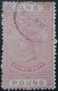 New Zealand 1886 QV One Pound p12½ SG F33 used