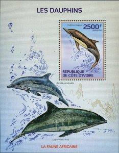 Dolphin Stamp Delphinus Delphis Stenella Coeruleoalba Marine Fauna Ocean S/S MNH