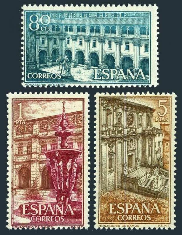 Spain 965-967,MNH.Mi 1217-1219.Courtyard of Samos Monastery,1960.Fountain,Facade
