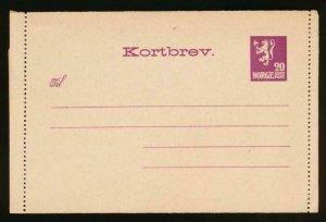 NORWAY Mi. K11 I POSTAL STATIONERY LETTER CARD 20o GJAELDER