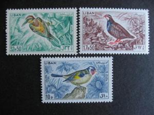 Birds topic, Lebanon MNH issues Sc 435, 437, 439