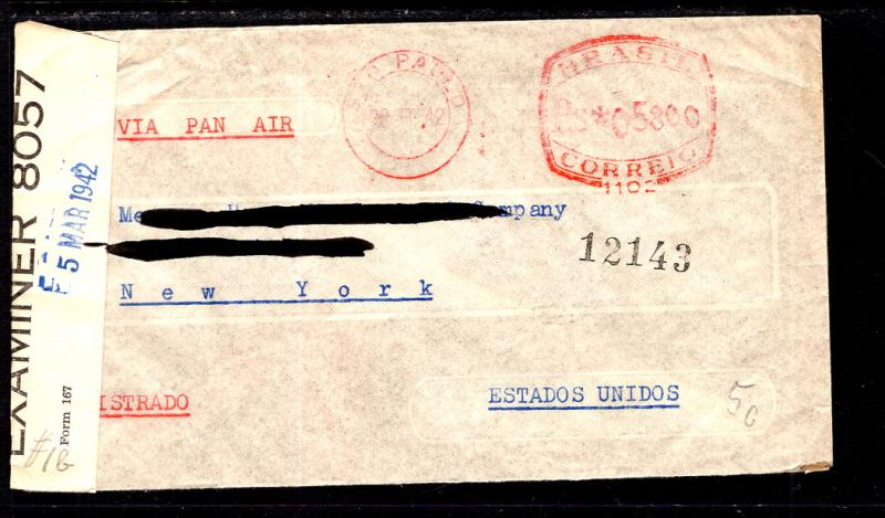 Brazil to New York,NY 1942 Censored Cover