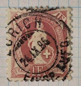 Switzerland sc#87a Zurich dated 1896 postmark cancel SOTN wmk182type1 11.5x11