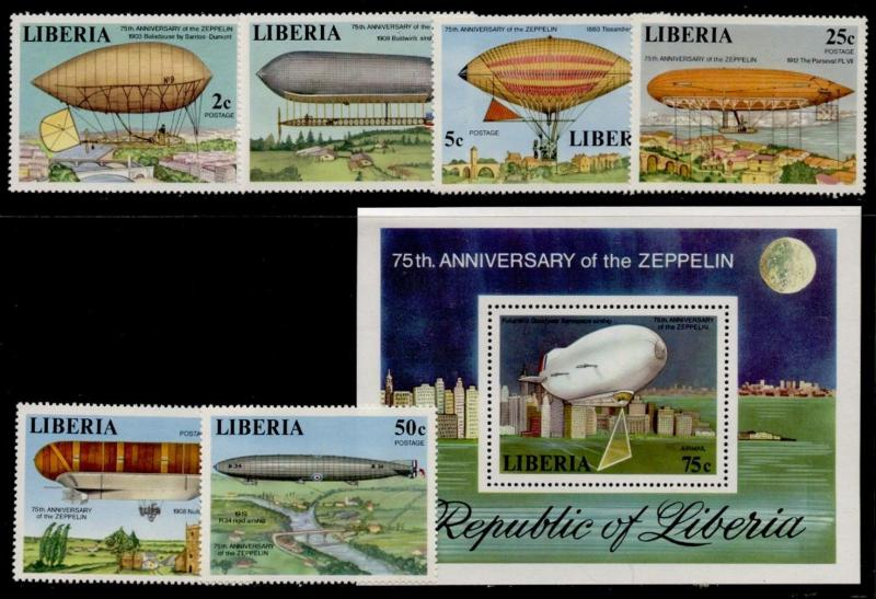 Liberia 801-6, C219 MNH Airships, Architecture