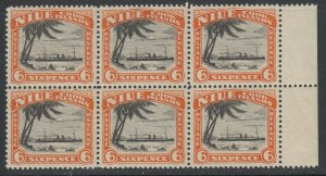 Niue, Scott 58 (SG 60), MNH block of six