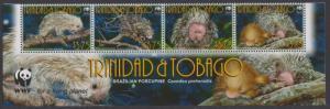 Trinidad and Tobago WWF Brazilian Porcupine Bottom Strip of 4v with WWF Logo