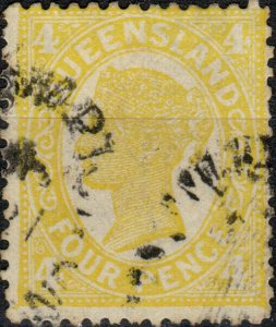 AUSTRALIA / QUEENSLAND 1898 - SG244 4d yellow d.I p.13 - Very Fine Used