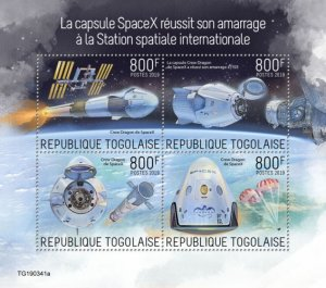 TOGO - 2019 - SpaceX at International Space Station - Perf 4v Sheet - MNH