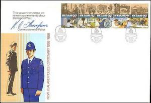 1986 NEW ZEALAND FIRST DAY COVER POLICE CENTENARY  WITH C...