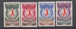 J27990 1969-71 france set mnh #2o9-12 unesco