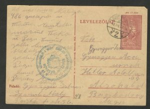 HUNGARY - TRAVELED POSTCARD WITH NICE LOCAL BLUE STAMP - STATIONARY - 1943.