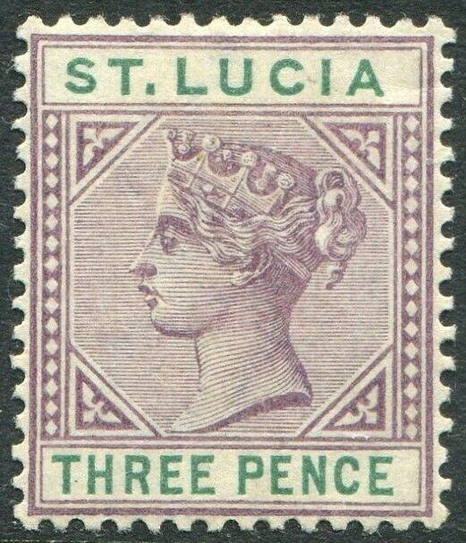 ST LUCIA-1891-98 3d Dull Mauve & Green Sg 47 MOUNTED MINT V48997