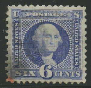 #115 6¢ 1869 XF USED GEM W/ RED & BLACK FACE FREE CANCELS CV $650 BU3971