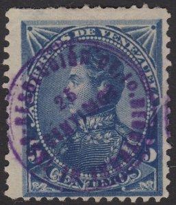 Venezuela 1892 25c on 5c Blue Resolucion Overprint MNG. Scott 100, SG 138