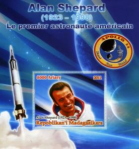 Malagasy 2011 SPACE Alan Shepard Astronaut s/s Perforated Mint (NH)