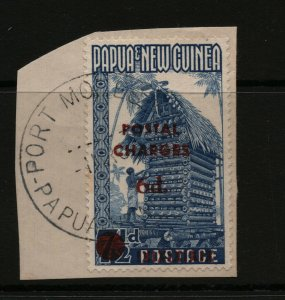 Papua New Guinea #J6 (SG #D1) Very Fine Used On Piece With Port Moresby PNG CDS