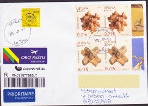 EUROPA OLD TOYS LITHUANIA AIR MAIL REGISTERED TO NAGORNO KARABAKH ARMENIA 15727