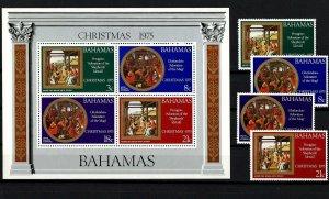 BAHAMAS - 1975 - CHRISTMAS - NATIVITY - KINGS - SHEPHERDS - MINT MNH SET + S/S!