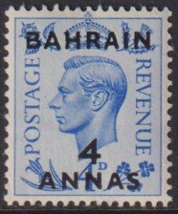 1950 - 1951 Bahrain 4 Anna surcharge KGVI MLMH Sc# 77 CV $5.00