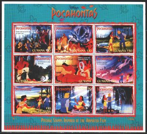 Guyana. 1995. Small sheet 5272-80. Pocahontas, Disney cartoons. MVLH.
