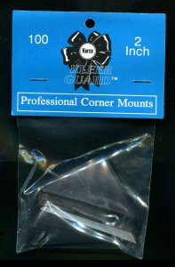 Harco Corner Mounts 2 Clear Front - Black Background - 200 Mounts Gummed Back
