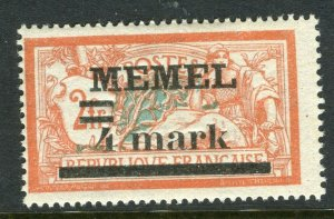 MEMEL; 1920 early surcharged issue Mint hinged 4M. value