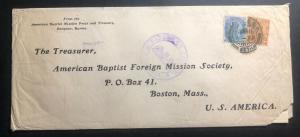 1916 Rangoon Burma India Missionary Cover To Baptist  Mission Boston MA USA B
