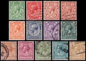 Great Britain Scott 187-189, 189b, 190-200 (1924) Used/Mint H VF, CV $79.70 B