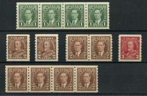 1935 issue & Mufti  COIL lot VF MNH Cat $200 Canada mint