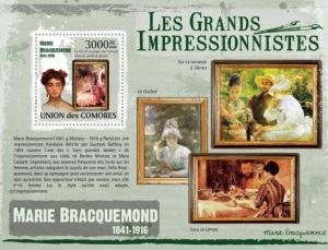 COMORES 2009 SHEET MARIE BRACQUEMOND IMPRESSIONISTS ART PAINTINGS cm9315b