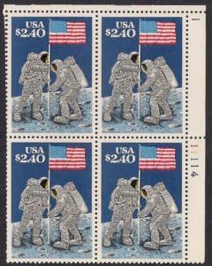 #2419 2.40 Dollars Moon Landing Block (1989) Stamp mint OG NH VF