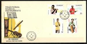St. Vincent, Scott cat. 845-848. Musicians with Instruments. First day cover. ^