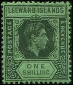 Leeward Islands SC# 111a SG# 110ba George VI 1sh blk-gray/emrld Chalky paper MH