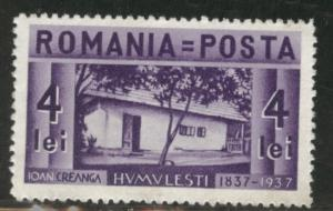 ROMANIA Scott 465 4L MH* 1937 stamp CV $1.75