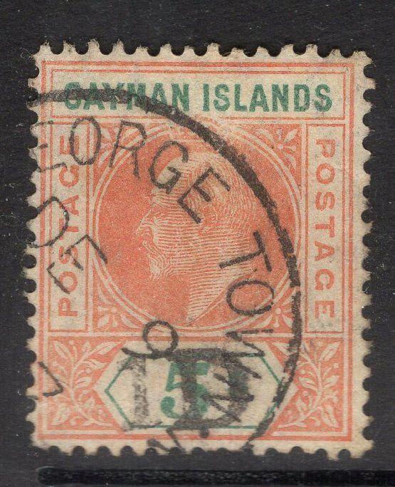CAYMAN ISLANDS SG19 1911 1d on 5/- SALMON & GREEN FINE USED