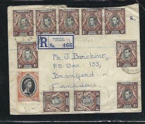 KENYA,UGANDA,TANGANYIKA (P1910BB) 1953 KGVI 1CX10+ QEII CORONATION X2 REG TO CAN