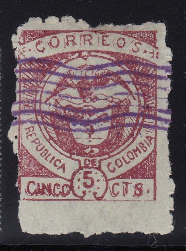 Colombia 1899 Cartagena Issues 5c Maroon on Greenish Blue M Mint. Scott 172