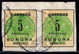 MEXICO STAMP SORONA ISSUE STAMP COLLECTION LOT #2 5C PAIR GREEN