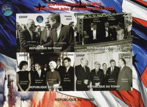 Chad 2013 Kennedy/John Glenn Space  Deluxe Sheet Ungummed Imperforated