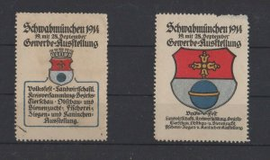 Germany Lot of 2 Skilled Trades Expo Poster Stamps Munich 1914 NG