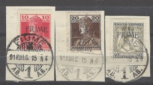 COLLECTION LOT # 4888 FIUME #21-23a ON PIECE 1918 CV+$26