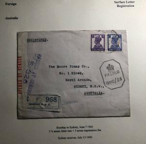 1943 Bombay India Censored Commercial Cover To Sydney Australia