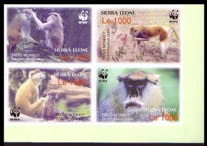 Sierra Leone WWF Patas Monkey 4 imperforated stamps in block 2*2