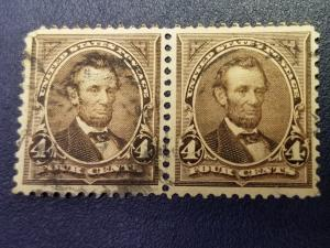 SC #254 1894 4 cent LINCOLN PAIR