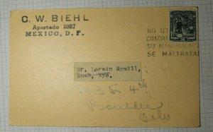 Mexico Philatelic Ad Postcard Biehl Stamp Dealer 1940's