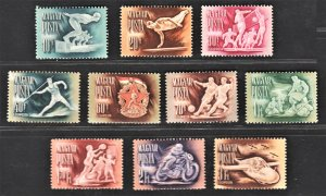 Hungary 1950 Sport for Olympic (10v Cpt) MNH CV$22